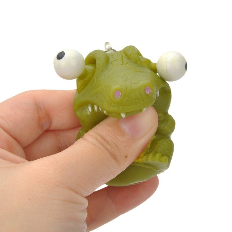 Cartoon Crocodile Style Stress Release Rubber Keychain - Green