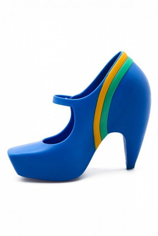 Melissa Ginga + Karl Lagerfeld Colorblock Mary Jane Pumps (Blue) Yellow Green